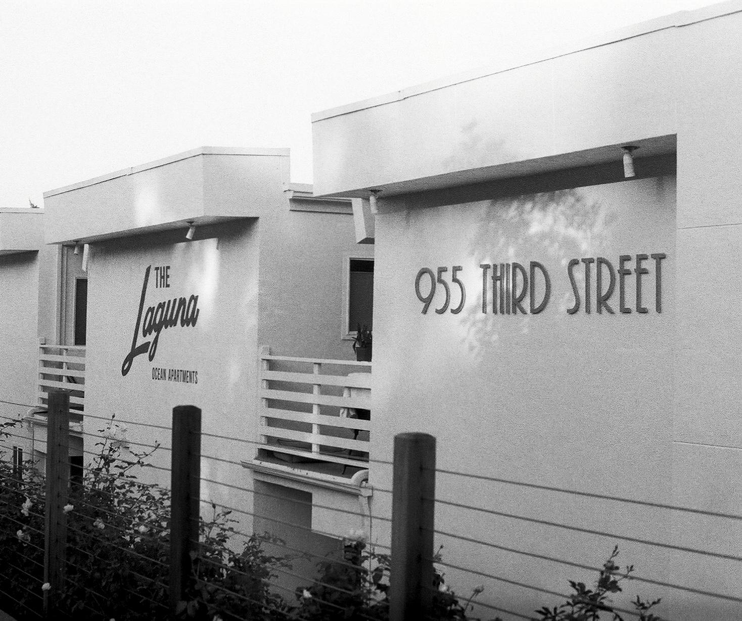 Black and White film photograph of the Laguna Apartments in Encinitas California